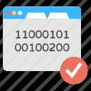 binary code, coding web page, programming language, web development icon