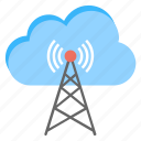 cloud networking, cloud wifi tower, internet connection, transmitter tower, wireless wifi network icon