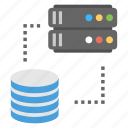 data connection, data storage, database hosting, network database, sql database icon