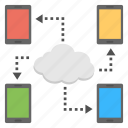 cloud backup, cloud communication, cloud data sharing, internet connection, mobile backup apps icon