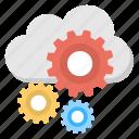 cloud configuration, cloud preferences, cloud services, cloud setup, cloud with cogs icon