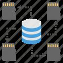 data backup, database storage, memory card database, server components, storage devices icon
