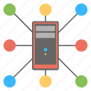 shared web hosting, web connections, server information transfer, global storage, internet connection icon