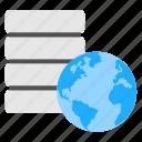 global data repository, global database, globe with database, hosting concept, worldwide storage icon