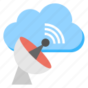 cloud communication, cloudscape, network receiver, satellite cloud connection, space technology icon