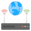 global network, globe and server, wifi network, wireless network, worldwide transmission icon