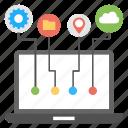 computer technology, cloud computing, online navigation, preferences setting, data storage icon