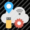 cloud navigation, cloud optimization, cloud services, cloud storage, wifi internet icon