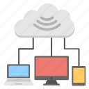 cloud computing, cloud network, cloud services, internet hosting technology, wifi connections icon