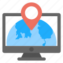 geolocation, global locationing service, global navigation, gps, online address locationing icon