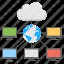 computer networking, digital communication, digital data network, global cloud computing, world cloud computing icon