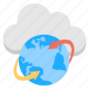 global network, cloud data connection, cloud computing services, web cloud access, worldwide digital connection icon