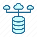 cloud, database, database network, server hosting icon