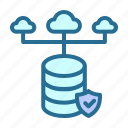 cloud, database, database network, security, server hosting icon