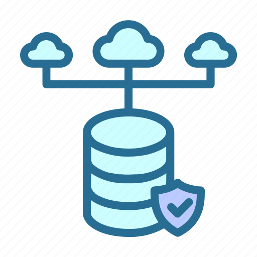 cloud, database, database network, security, server hosting icon