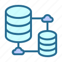 clouds, database connection, database networking, databases, share database icon
