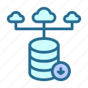 cloud, database, down, grade icon