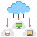 cloud access, cloud computing, cloud network, digital storage, virtual links icon
