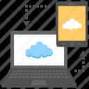 data synchronization, data transmission, devices cloud hotspot, digital data sharing, technology sync icon