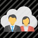 cloud community, cloud computing concept, private cloud, public cloud, remote business community icon