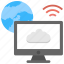 cloud based connection, cloud computing, global internet, web hosting, wifi net connection icon