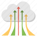 cloud computing, cloud migration, cloud with arrows, data transfer, digital cloud uploading icon