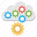 cloud configuration, cloud management, cloud preferences, cloud setting, cloud with gears icon