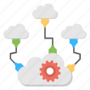 cloud network distribution, distributed cloud, multiple system sharing, shared cloud network, shared cloud services icon