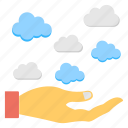 cloud computing, cloud computing platform, cloud connection, cloud services, hand offering clouds icon
