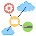 cloud computing, cloud data management, cyber physical system, data storage, web hosting icon