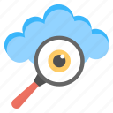 accessibility, cloud monitoring, cloud with magnifier, cloudsearch, network exploration icon