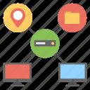 data handling server, dedicated server, multitasking web hosting, virtual connection, web storage icon