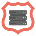 data protection concept, protected server, secure network, server and shield, server security icon