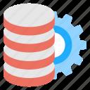 data center adjustment, database management, database setting, database with gear, storage administration icon