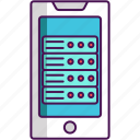 database, mobile, mobile database, mobile hosting icon