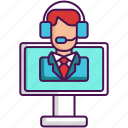 customer service, help desk, online, online support, support, tech support icon