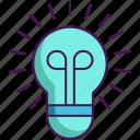 creativity, idea, light bulb, solution icon