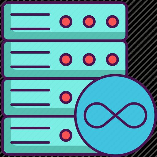 hosting, server, storage, unlimited, unlimited storage icon