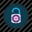access, cog, control, padlock, security, settings, unlock icon