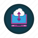 cloud, computing, data, download, laptop, transfer, upload icon