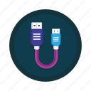 cable, data, plug, transfer, usb, wire, wired icon
