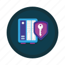 data, database, encryption, key, security, server, storage icon