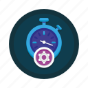 cog, optimization, performance, seo, settings, stopwatch icon