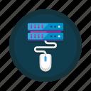 computing, control, database, hosting, mouse, server, setup icon
