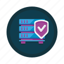 database, protection, safety, secure, security, server, shield icon