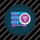 data, database, internet, server, storage, web, wireless icon
