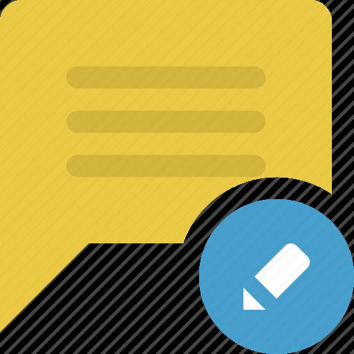 chat, chat bubble, comment, edit comment, speech, speech bubble, talk bubble icon