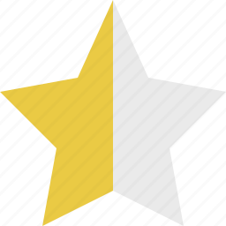 half, half star, rate, rating, star icon