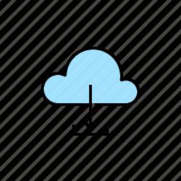 cloud, download, downloader, downloading, server icon