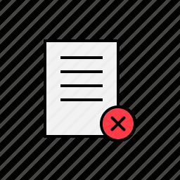 cancel, content, delete, document, remove icon
